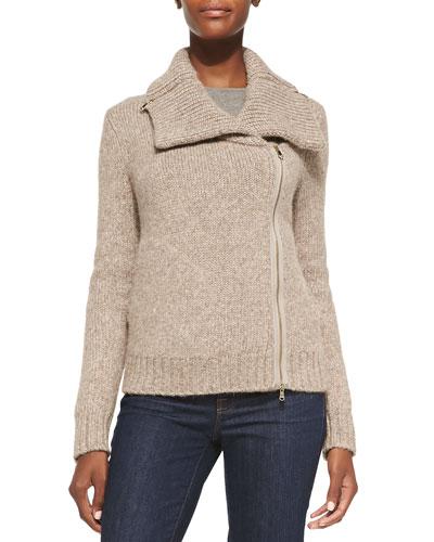 Ledella Knit Two-Way Zip Moto Jacket