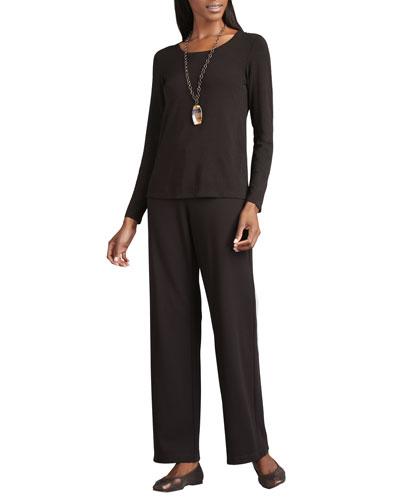 Straight-Leg Ponte Pants, Chocolate, Women's