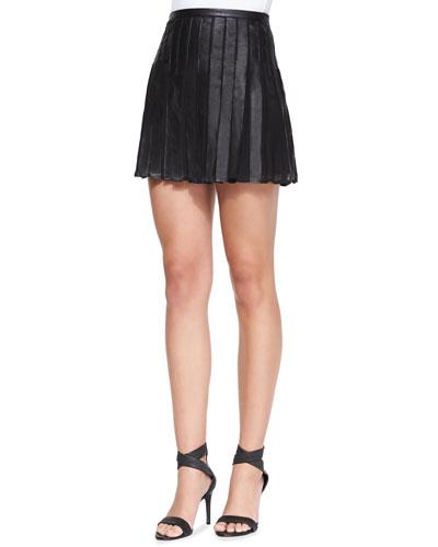 Morowa Pleated Leather A-Line Skirt