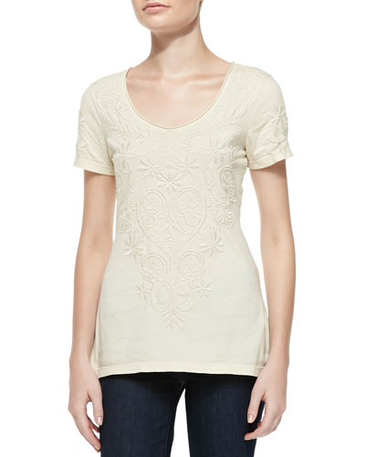Cynthia Scoopneck Embroidered Tee, Brie, Women's