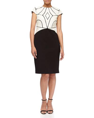 Ricci Leather/Ponte Dress, Black/White