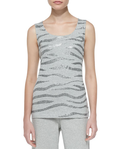 Sequined Cotton Shell, Grey Heather, Women's