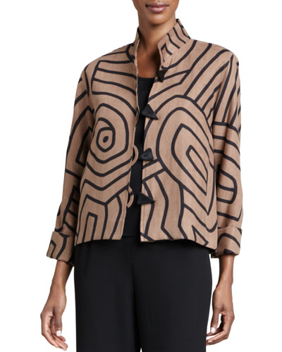 Graphic Suede Boxy Jacket
