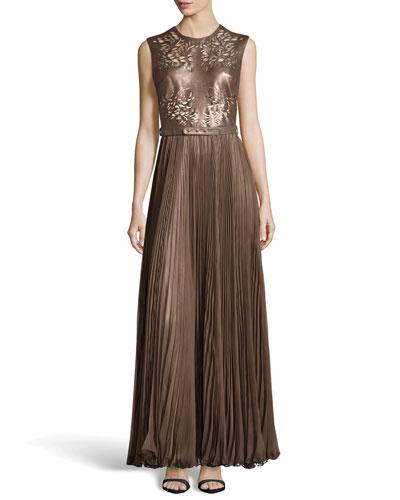 Naya Cutout Leather Gown, Walnut