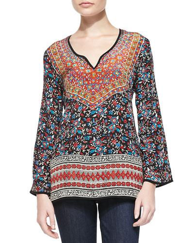 Monika Printed Silk Tunic, Women's