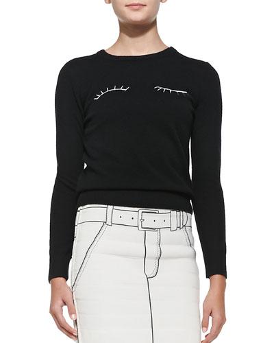 Eyelashes Long-Sleeve Knit Sweater