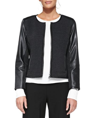 Leather-Trim Merino Short Zip Jacket, Women's