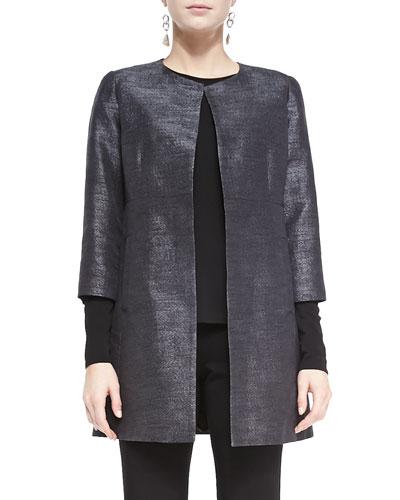 Iridescent Jacquard Long Jacket, Black