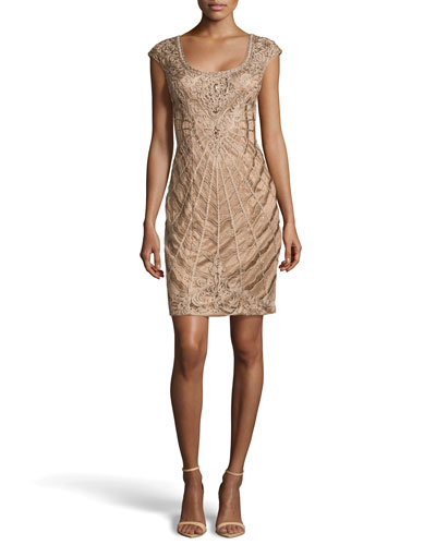Ribbon & Bead Embellished Cocktail Dress, Toffee
