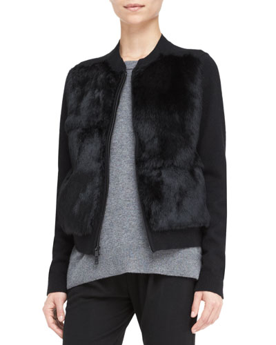 Rabbit-Fur Stand-Collar Cardigan