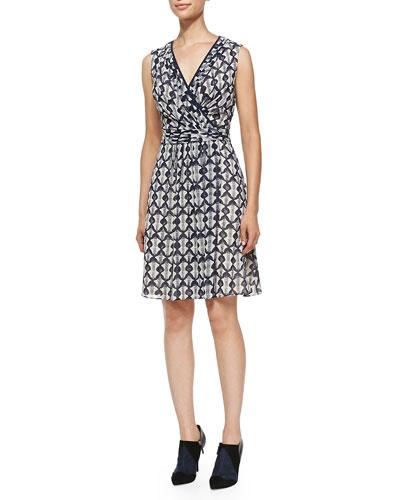 Leyna Printed Surplice Georgette Dress