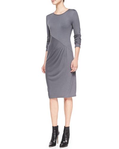 Long-Sleeve Diagonal Pleat Dress