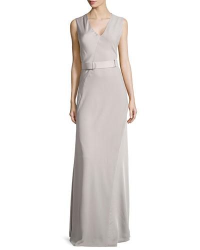 Sleeveless V-Neck Satin Gown, Atmosphere