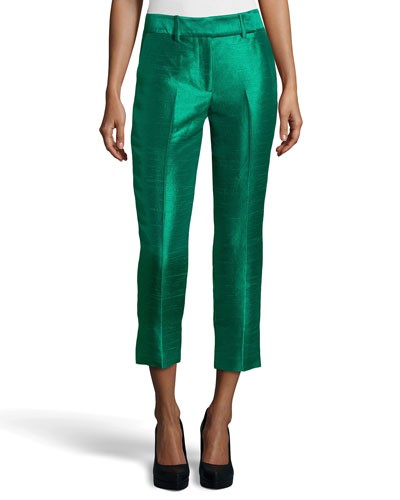 Cropped Dupioni Ankle Pants, Emerald