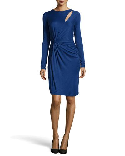 Slit-Front Twist-Waist Jersey Dress, Indigo