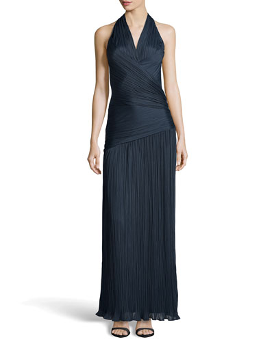 Ruched Charmeuse Halter Gown, Petrol