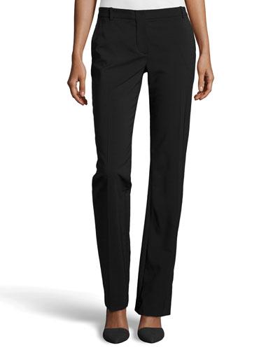 Straight Leg Tailored Pants, Black