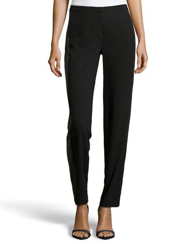 Contrast Knit Tuxedo Pants, Black