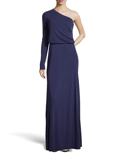 Long-Sleeve One-Shoulder Gown