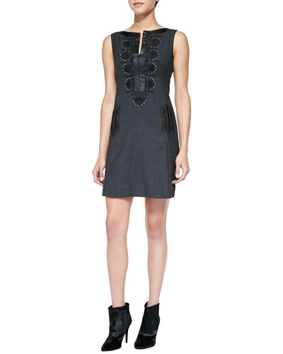 Turkish Delight Embroidered Leather-Trim Dress