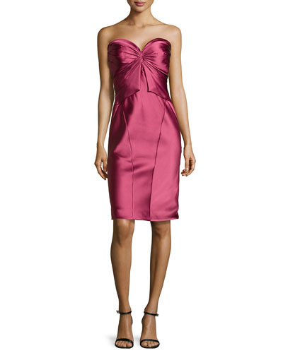 Twist-Pleated Strapless Cocktail Dress, Cherry