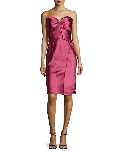 Twist-Pleated Strapless Cocktail Dress, Cherry