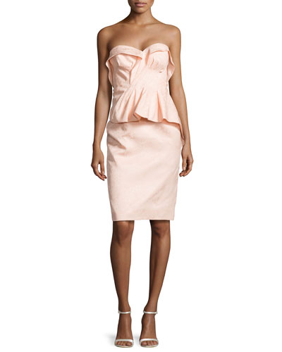 Floral-Brocade Fold-Pleated Peplum Dress, Powder Pink