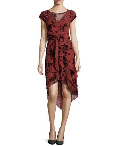 Floral-Flocked Tiered Chiffon Dress, Rust