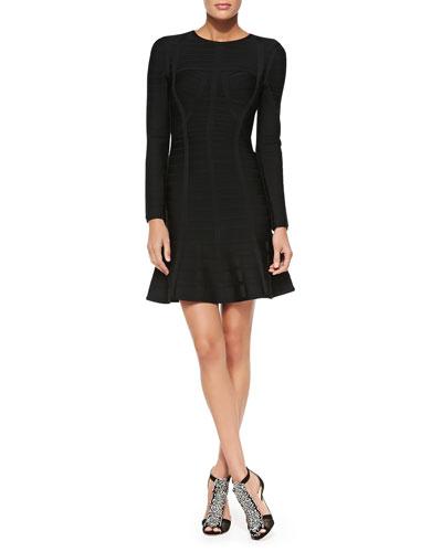 Barbara Novelty Long-Sleeve Bandage Dress