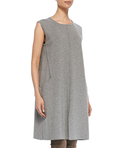 Crewneck Shift Dress with Center Seam