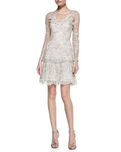 Lace Ruffle-Hem Cocktail Dress