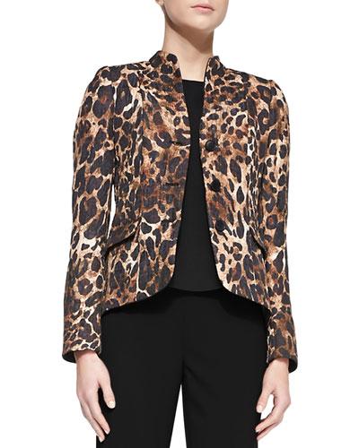 Andy Mandarin-Collar Leopard-Print Jacket