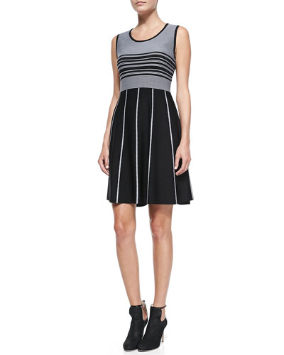 Sleeveless Striped Fit-and-Flare Jersey Dress
