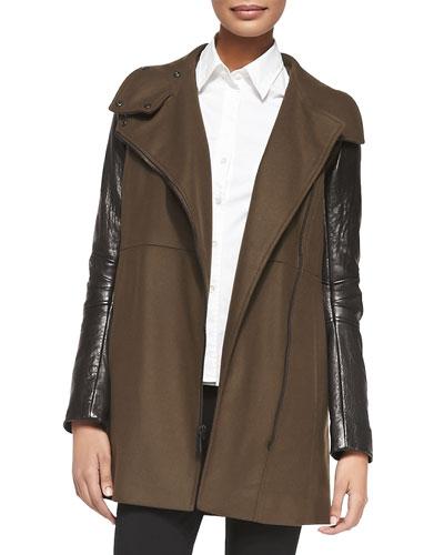 Lara Leather-Sleeve Long Jacket
