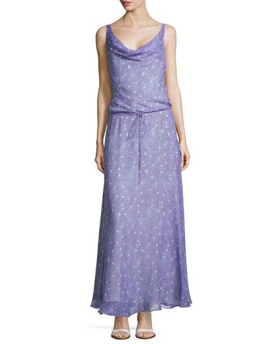 Sleeveless Draped Scoop Maxi Dress, Grain Stars