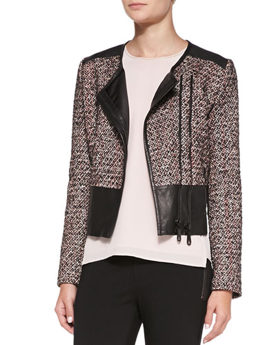 Ansel Double-Zip Jacket with Leather Detail