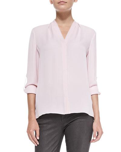 Anabella Long-Sleeve Silk Blouse