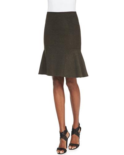 Bonnie Tweed Flared-Hem Skirt