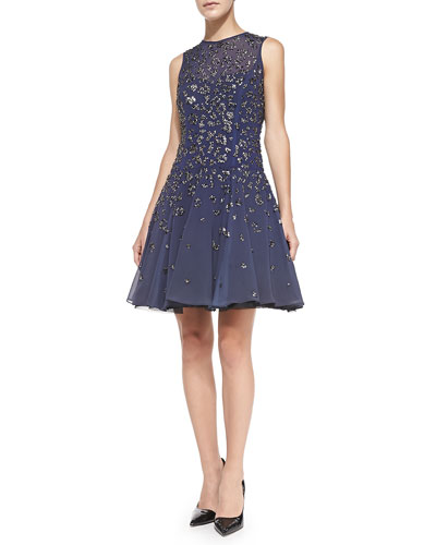 Beaded Fit-and-Flare Cocktail Dress