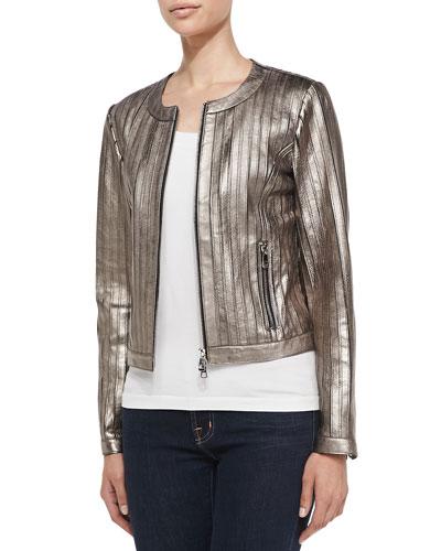 Pintuck Metallic Leather Jacket