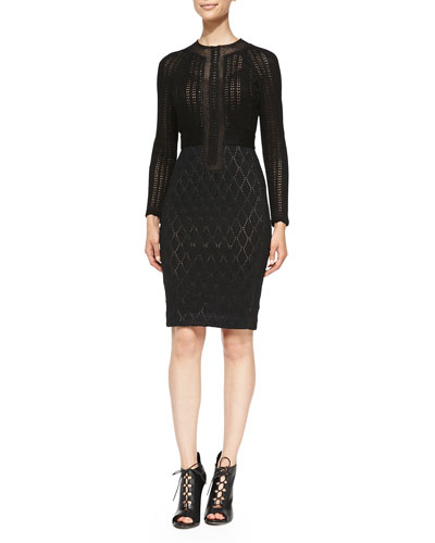 Long-Sleeve Dual-Texture Sheath Dress