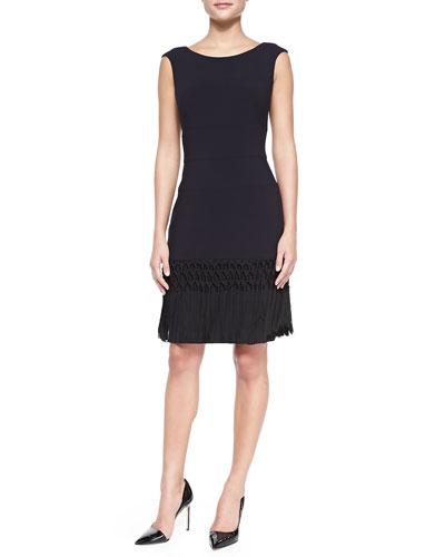Short-Sleeve Structured Sheath Dress