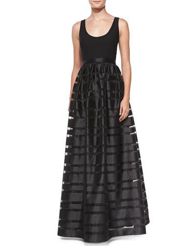 Sleeveless Banded Skirt-Overlay Gown