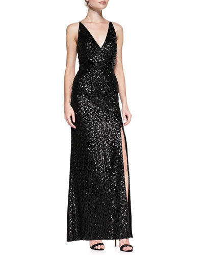 Sleeveless Sequined Mesh-Back Gown