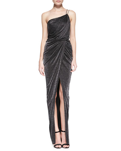 One-Shoulder Draped Ruched Gown