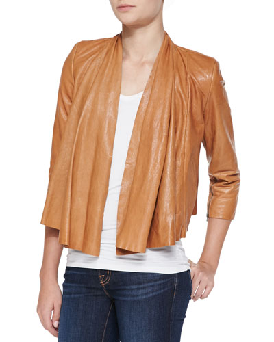 Open-Front Draped Leather Jacket