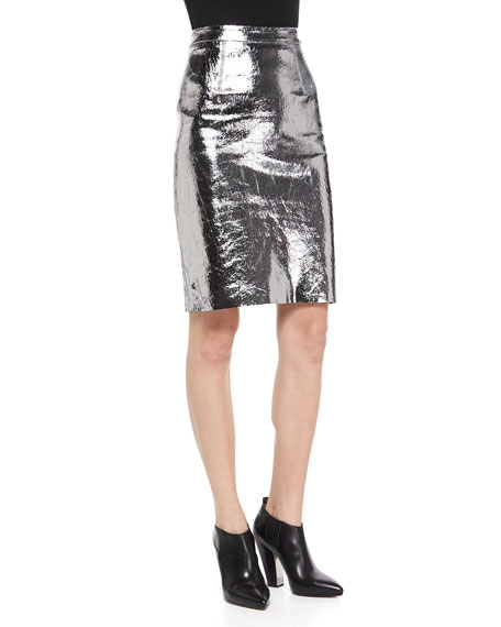 b0c5fcc1905 Milly Metallic Leather Pencil Skirt