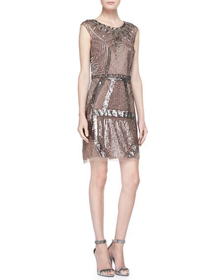 Aidan Mattox Beaded Sequined Art Deco Cocktail Dress