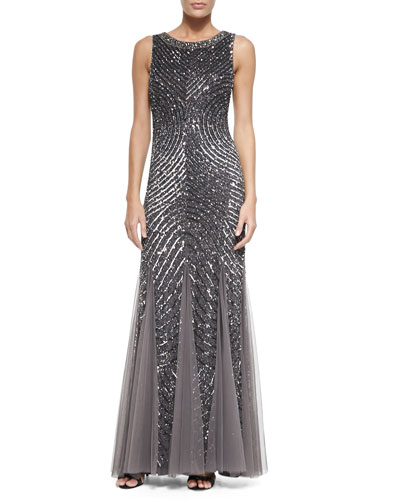Sleeveless Beaded Gown W/ Cutout Back