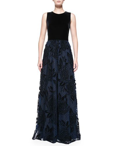 Sleeveless Gown W/ Flocked Point D'Esprit Skirt